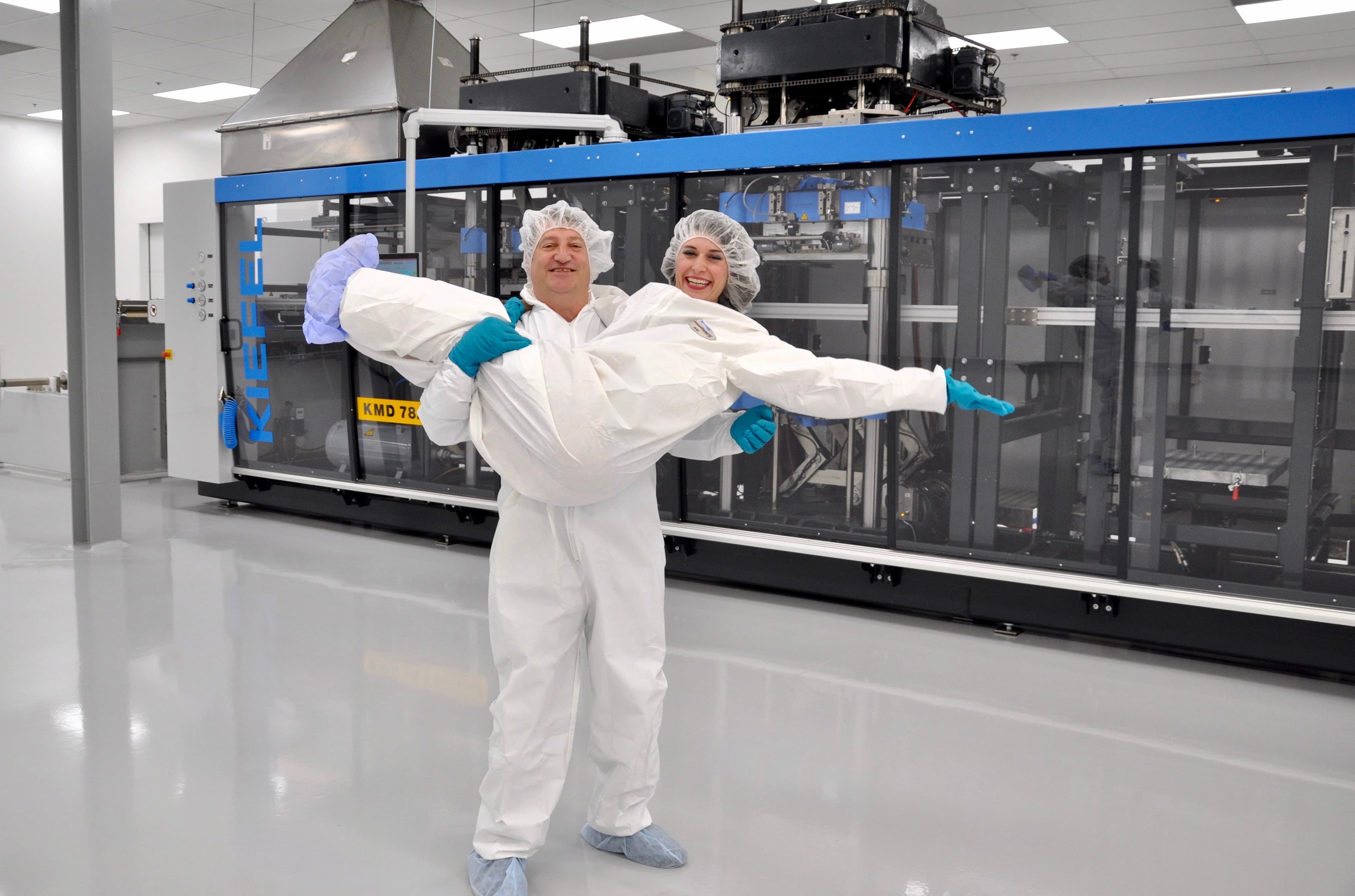 Aric and Chandler in Dordan's cleanroom